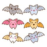 Set of kawaii bats with different facial Stock Photo