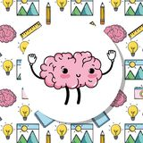Set kawaii brain with knowledge education. Vector illustration Royalty Free Stock Images