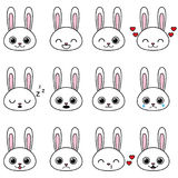 Set of kawaii cartoon bunny emotions Stock Photography