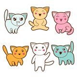 Set of kawaii cats with different facial Royalty Free Stock Photos