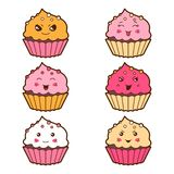 Set of kawaii cupcakess with different facial Stock Photos