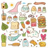 Set of kawaii doodle, food, animal, and other objects vector illustration