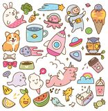 Set of kawaii doodles design element stock photography