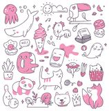 Set of kawaii doodles design element vector illustration