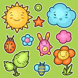 Set of kawaii doodles with different facial expressions. Spring collection cheerful cartoon characters sun, cloud Stock Photos