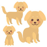 Set Kawaii funny golden beige dog, face with large eyes and pink cheeks, isolated on white background. Vector Royalty Free Stock Images