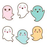 Set of kawaii ghosts with different facial Stock Image