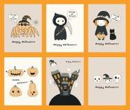 Set Kawaii Halloweenowe karty ilustracja wektor