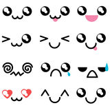 Set with kawaii mimicry faces. Different muzzles Royalty Free Stock Image