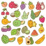 Set kawaii owoc na białym tle ilustracja wektor