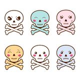 Set of kawaii skulls with different facial Royalty Free Stock Photos