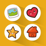 set kawaii social media icons royalty free illustration