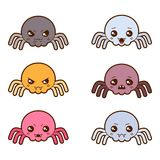 Set of kawaii spiders with different facial Stock Images