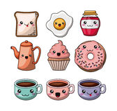Set kawaii style food isolated icon design Stock Images