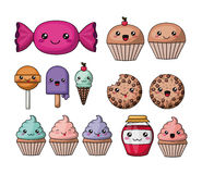 Set kawaii style food isolated icon design Stock Photography