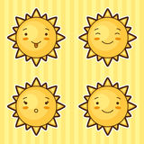 Set of kawaii suns with different facial expressions Stock Photography