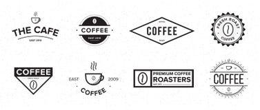 Set kawowa etykietka Różny logo, odznaka, emblemat kolekcja na białym tle Wektorowe czarny i biały ilustracje ilustracja wektor