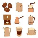 Set kawowe ikony Obraz Stock