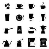 Set kawowe ikony, wektorowa ilustracja royalty ilustracja