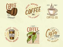 Set kawowi logowie nowożytni roczników elementy dla sklepowego menu również zwrócić corel ilustracji wektora projekt dekoraci kol Zdjęcie Royalty Free