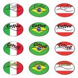 Set kawowi logowie z flaga Włochy, Brazylia, Austria ilustracja wektor