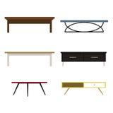 Set kawowi różnorodni odosobneni stoły Obrazy Stock
