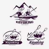 Set of kayaking templates for labels Royalty Free Stock Photo