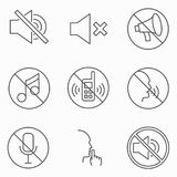 Set of keep silence signes. Line vector icons. Royalty Free Stock Photo