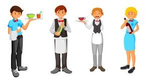 Set kelnera charakteru projekt Zdjęcie Stock