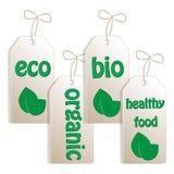 Set Kennsätze für biologisches Lebensmittel Stockbilder