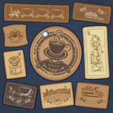 Set Kennsätze für Kaffee Lizenzfreies Stockfoto