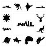Set of kentucky state, koala, beaver, goldfish, raccoon, kangaroo outline on white background, haiti, elk head, star david icons. Set Of 13 simple editable icons Royalty Free Stock Photography