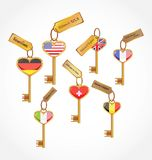 Set of key with flags Stock Image