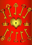 Set key and heart Royalty Free Stock Images