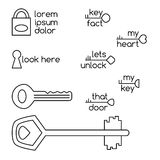Set of key line art and logo examples Royalty Free Stock Photo
