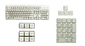 Set of keyboard's part's. Numeric keypad, isolated on white background royalty free stock images