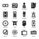 Set of Keyboard, Television, Phone call, Mouse, Compact disc, Microphone, Video player, News reporter, Link icons. Set Of 16 simple  icons such as Keyboard Royalty Free Stock Photo