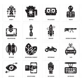 Set of Keyboard, Wi gloves, Eye scan, Motorbike, Jetpack, Rocket, Smartphone, Vr glasses, Robot icons. Set Of 16 simple  icons such as Keyboard, Wi gloves Royalty Free Stock Photos