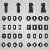 Set of keyholes,  illustration. Collection of keyholes,  illustration Stock Photography
