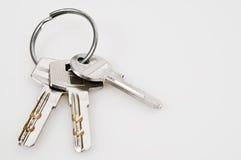Set of keys. Isolated set of keys on key ring stock photo