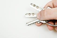 Set of keys. Isolated set of keys on key ring stock photos