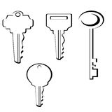 Set of Keys. Black and white line drawings of keys vector illustration