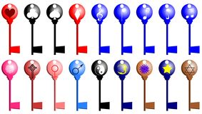 Keys with elements. Set of keys with different elements: notes, treble clef, card seeds cross, woman and man symbol tao moon flower star and symbol of King David Royalty Free Stock Photos