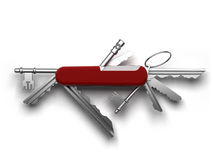 A set of keys from the estate. Creative metaphor of universal keys from the estate in a single tool based on the Swiss army pocket knife Royalty Free Stock Images