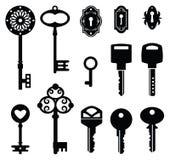 Set of keys. Isolated on white background stock illustration
