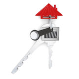 Set of keys with keychain isolated on white background. 3d rendering vector illustration