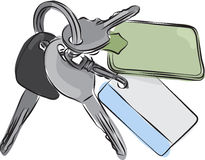Set of Keys Line Drawing Stock Photo