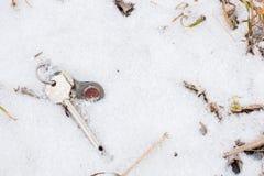 Set of keys lying on the snow Stock Image