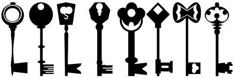 Keys set. Set of keys made with different shapes royalty free illustration