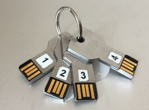 A set of keys 2.0. USB keys filled with mysterious leaked content royalty free stock image
